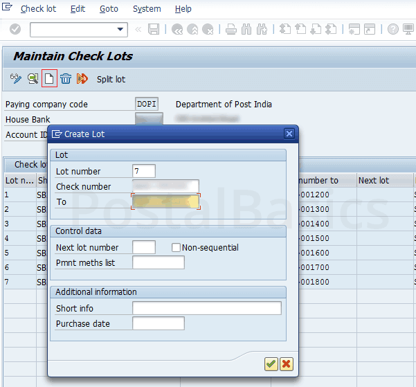 How to Add Post Master's New Cheque Book to the lot in CSI Post Office?