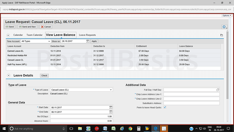 How to apply leave in CSI Post Office?