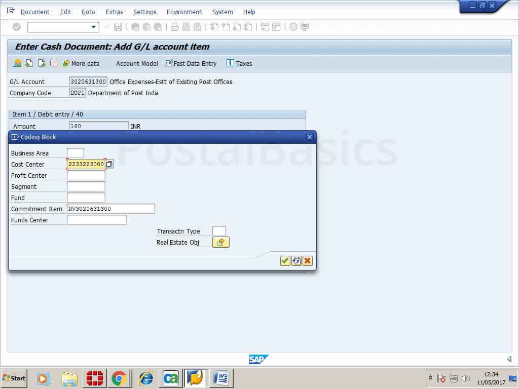Cash conveyance or Office Expense in SAP Module of Post Office